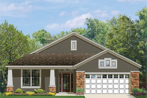 Craftsman Exterior - Front Elevation Plan #1058-72