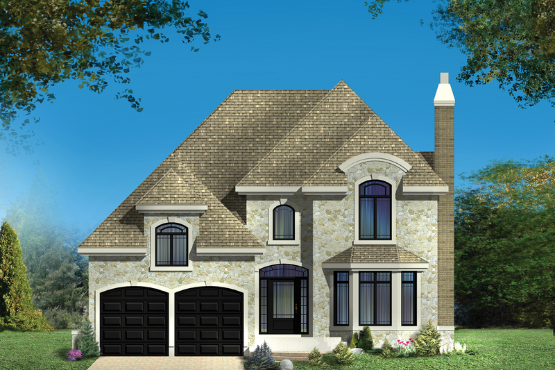 European Style House Plan - 3 Beds 2 Baths 2634 Sq/Ft Plan #25-4857 Exterior - Front Elevation