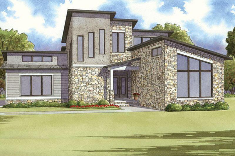 Architectural House Design - Contemporary Exterior - Front Elevation Plan #17-3384