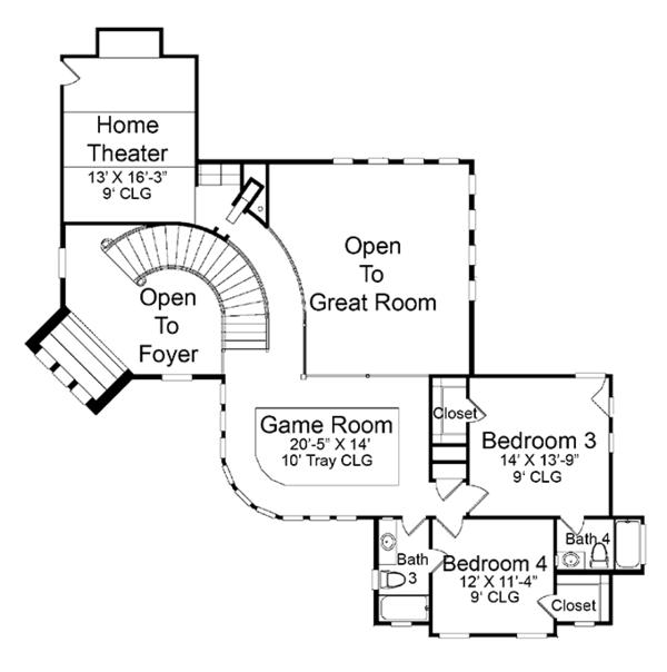 Architectural House Design - Mediterranean Floor Plan - Upper Floor Plan #952-196