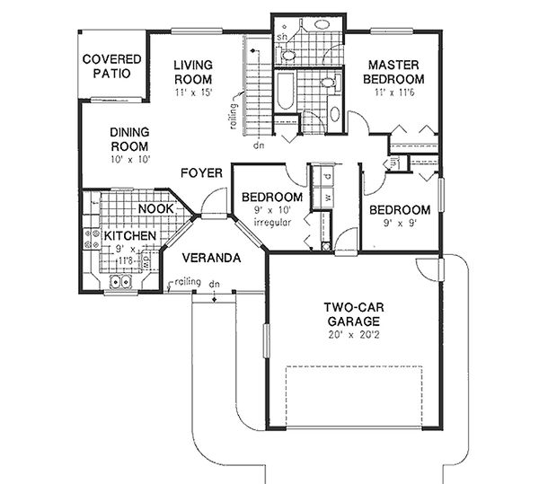 Ranch Floor Plan - Main Floor Plan Plan #18-1001