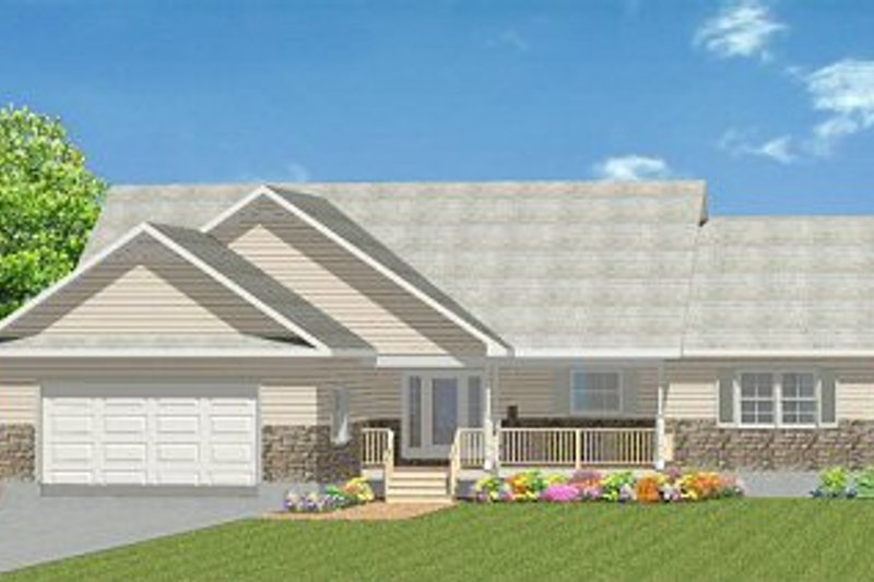 Traditional Style House Plan - 3 Beds 2 Baths 1865 Sq/Ft Plan #414-106 Exterior - Front Elevation