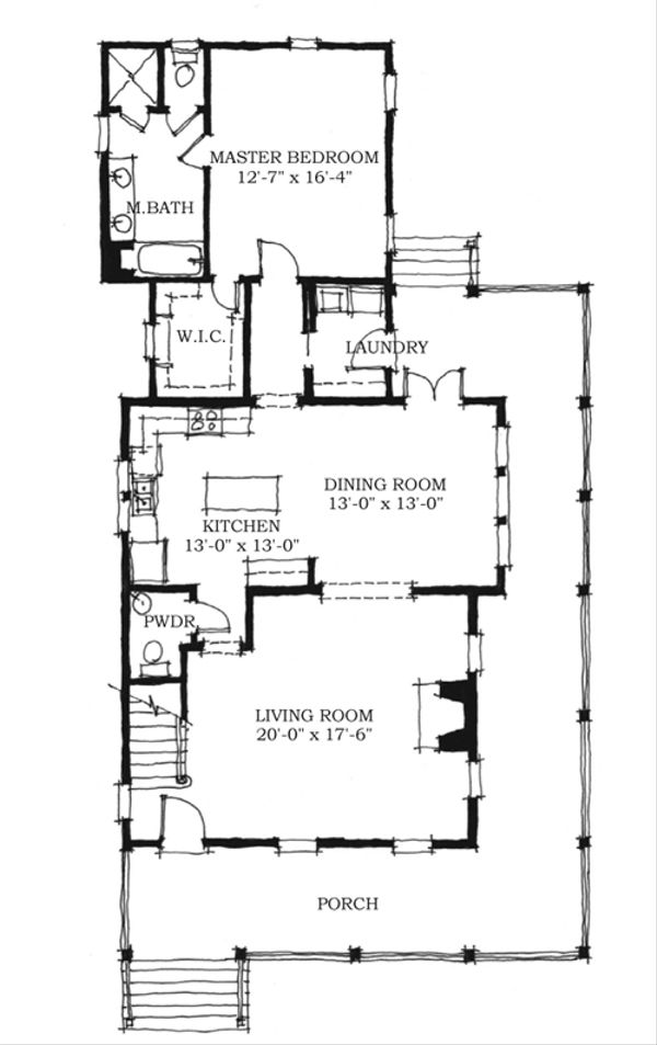 Farmhouse Style House Plan - 3 Beds 2.5 Baths 2038 Sq/Ft Plan #464-7 Floor Plan - Main Floor Plan