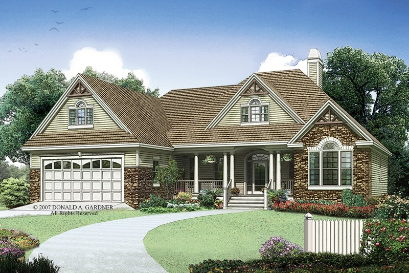 Country Exterior - Front Elevation Plan #929-10 - Houseplans.com