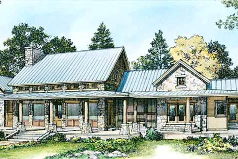 Country Exterior - Rear Elevation Plan #140-171 - Houseplans.com