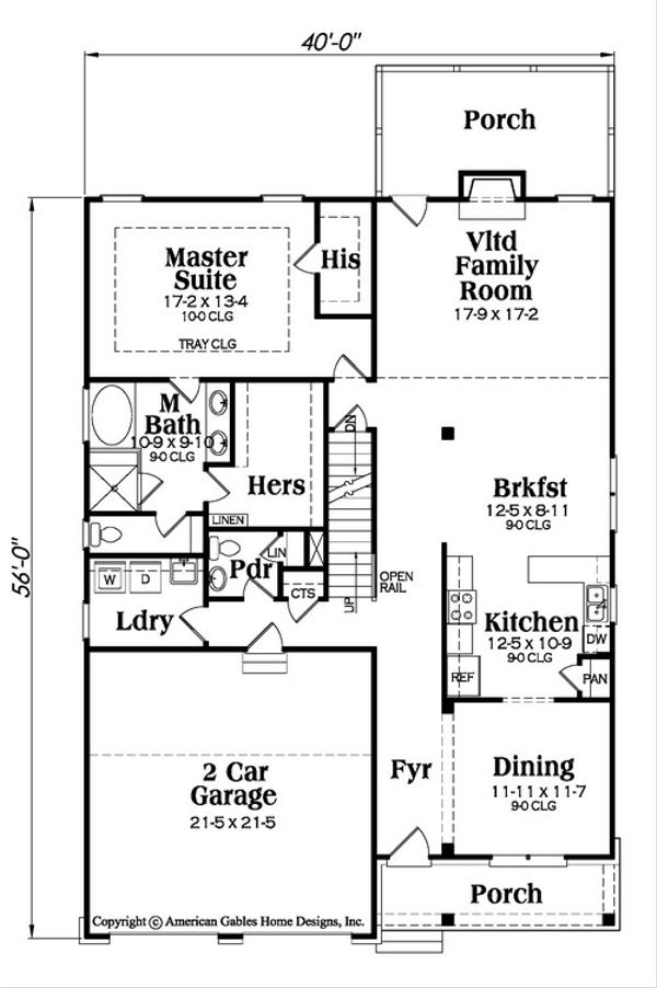 Traditional Floor Plan - Main Floor Plan Plan #419-290
