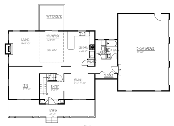 Colonial Floor Plan - Main Floor Plan Plan #1061-4