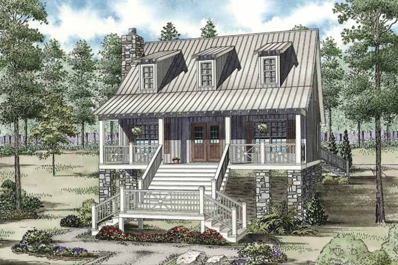 Country Exterior - Front Elevation Plan #17-3298