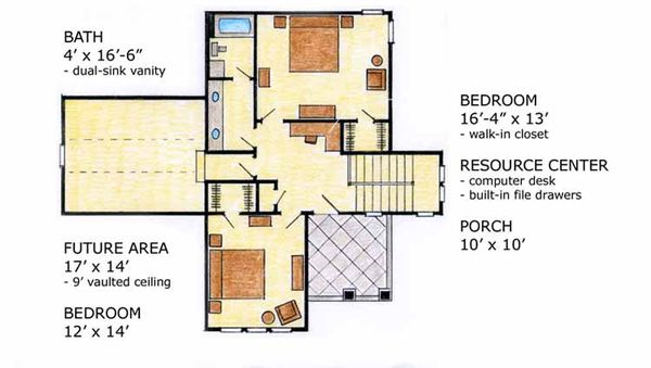 House Plan Design - Country Floor Plan - Upper Floor Plan #410-3565