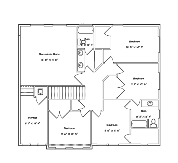 Mediterranean Floor Plan - Upper Floor Plan Plan #1060-29