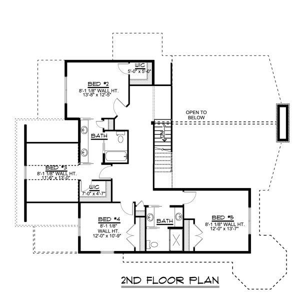 Craftsman Floor Plan - Upper Floor Plan #1064-23