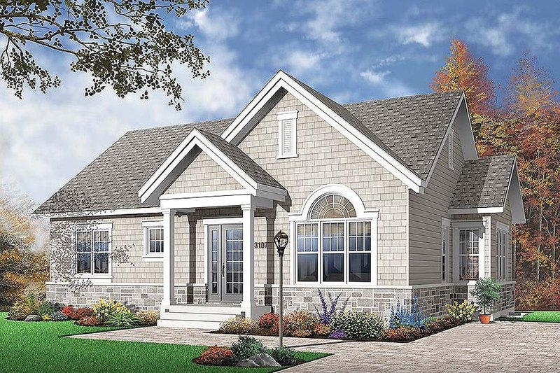 Traditional Style House Plan - 3 Beds 1 Baths 1124 Sq/Ft Plan #23-641 Exterior - Front Elevation