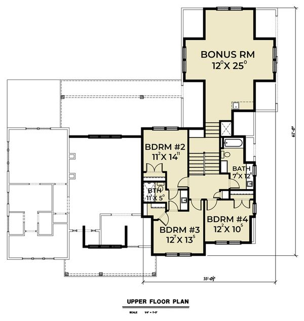 Farmhouse Floor Plan - Upper Floor Plan Plan #1070-42