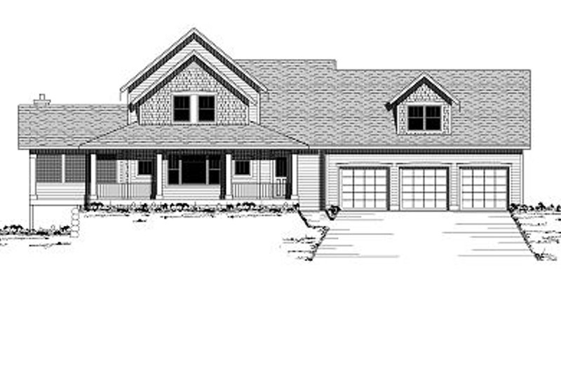 Farmhouse Style House Plan - 3 Beds 2.5 Baths 3158 Sq/Ft Plan #51-300 Exterior - Front Elevation