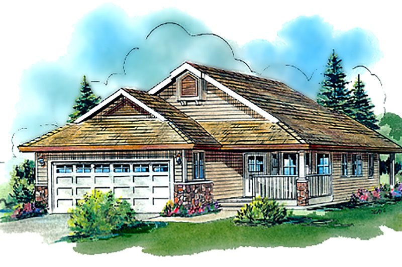 Country Style House Plan - 2 Beds 2 Baths 1159 Sq/Ft Plan #18-1061 Exterior - Front Elevation