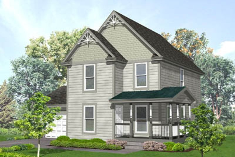 Victorian Style House Plan - 3 Beds 2.5 Baths 1387 Sq/Ft Plan #50-136 Exterior - Front Elevation