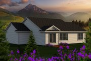 Craftsman Style House Plan - 3 Beds 2 Baths 1351 Sq/Ft Plan #70-1159 Exterior - Rear Elevation