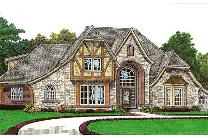 Tudor Style House Plan - 4 Beds 4.5 Baths 3839 Sq/Ft Plan #310-656 Exterior - Front Elevation