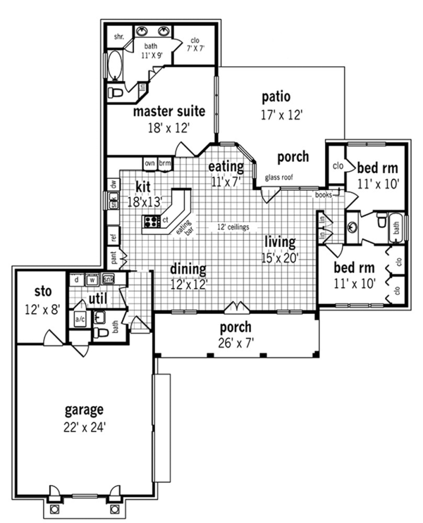 European Floor Plan - Main Floor Plan Plan #45-568