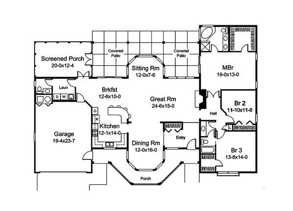 Dream House Plan - Country Floor Plan - Main Floor Plan #57-689