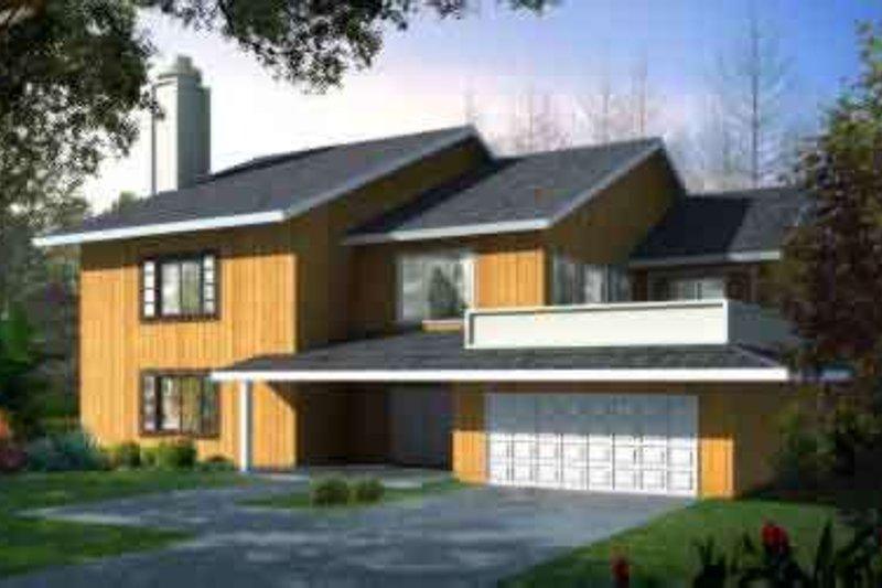 Modern Style House Plan - 3 Beds 2.5 Baths 2557 Sq/Ft Plan #1-1462 Exterior - Front Elevation