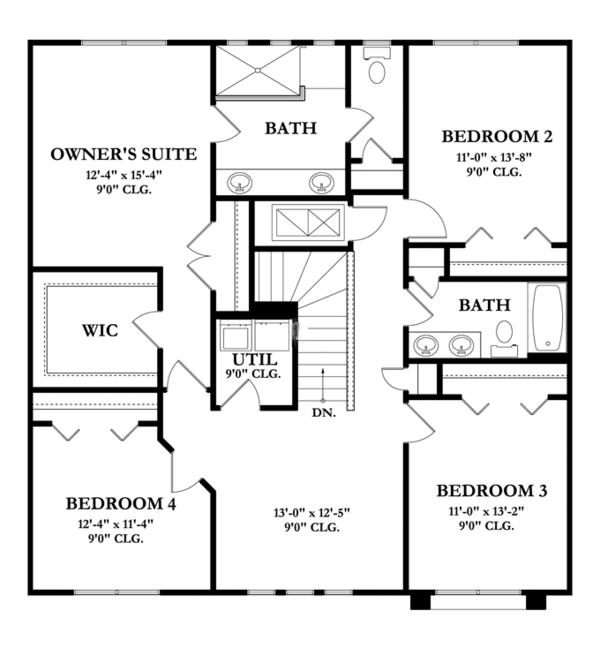 Mediterranean Floor Plan - Upper Floor Plan Plan #1058-61