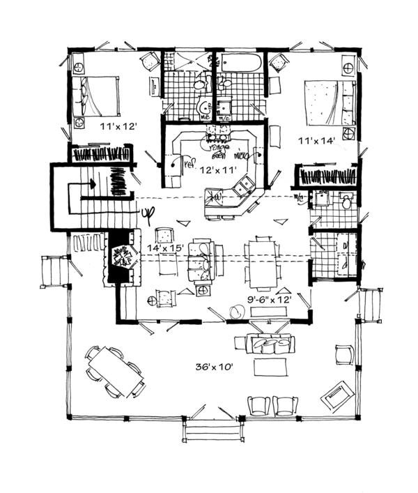 Cabin Floor Plan - Main Floor Plan Plan #942-34