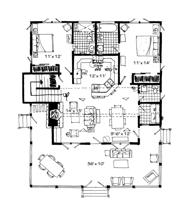 Cabin Floor Plan - Main Floor Plan Plan #942-34