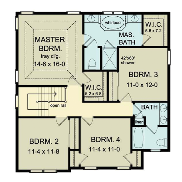 Colonial Floor Plan - Upper Floor Plan Plan #1010-36