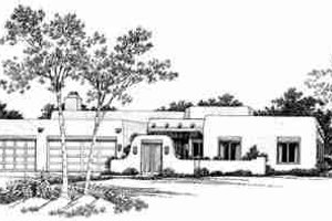 Adobe / Southwestern Exterior - Front Elevation Plan #72-332