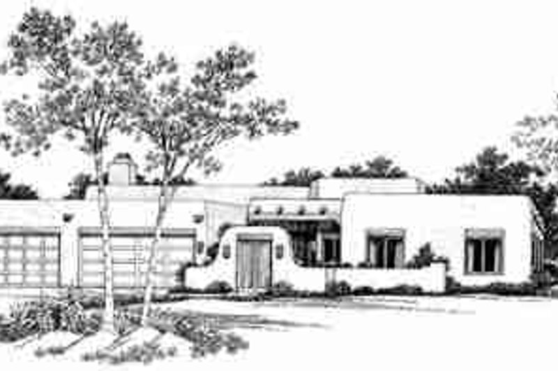 Adobe / Southwestern Style House Plan - 4 Beds 3 Baths 2945 Sq/Ft Plan #72-332 Exterior - Front Elevation