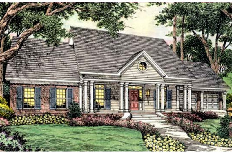 Southern Exterior - Front Elevation Plan #406-255
