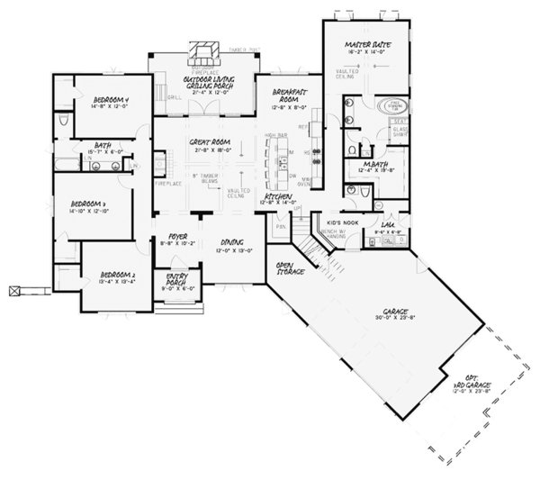House Plan Design - Country Floor Plan - Main Floor Plan #17-3371
