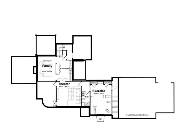 Country Floor Plan - Lower Floor Plan #928-214