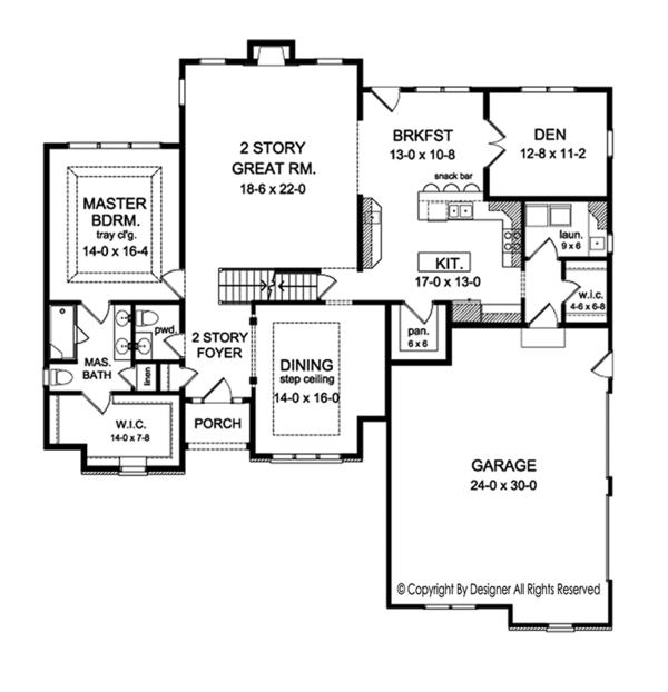 Colonial Floor Plan - Main Floor Plan Plan #1010-156