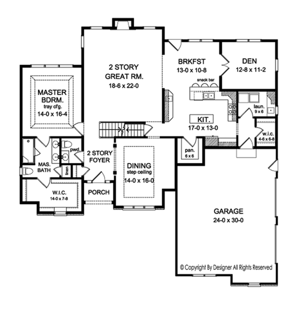 Colonial Floor Plan - Main Floor Plan Plan #1010-156