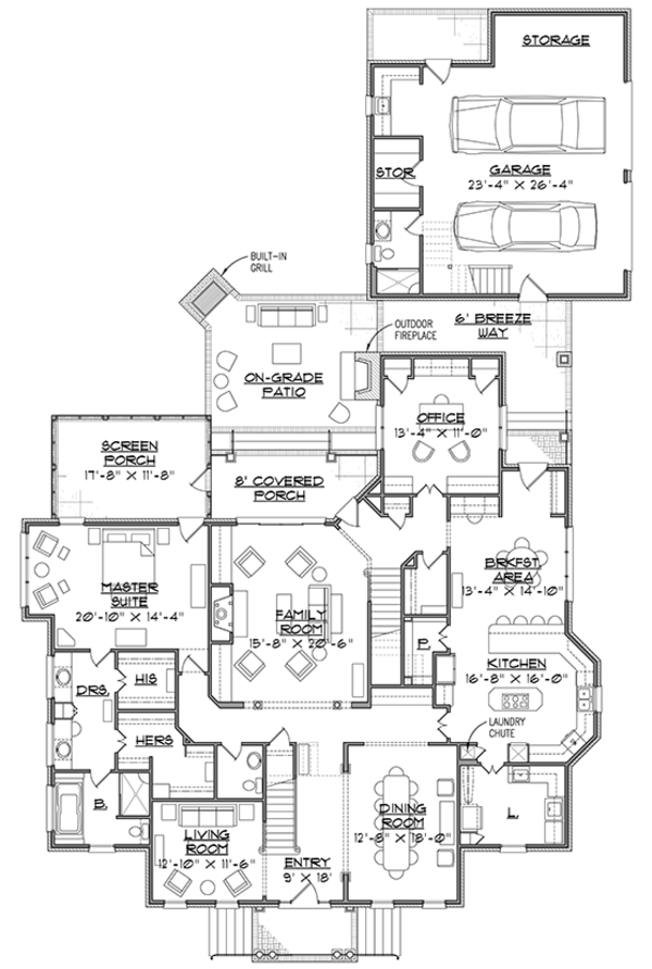 Traditional Floor Plan - Main Floor Plan Plan #1054-20