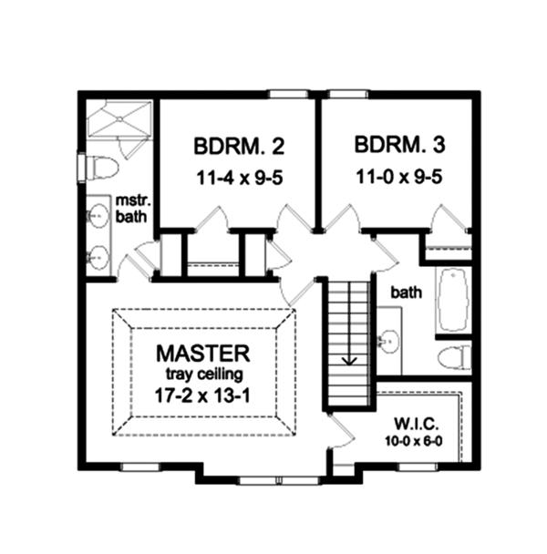Colonial Floor Plan - Upper Floor Plan Plan #1010-113
