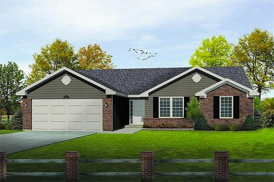 Ranch Exterior - Front Elevation Plan #22-523