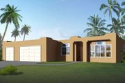 Adobe / Southwestern Style House Plan - 3 Beds 2 Baths 1582 Sq/Ft Plan #1-1298 Exterior - Front Elevation