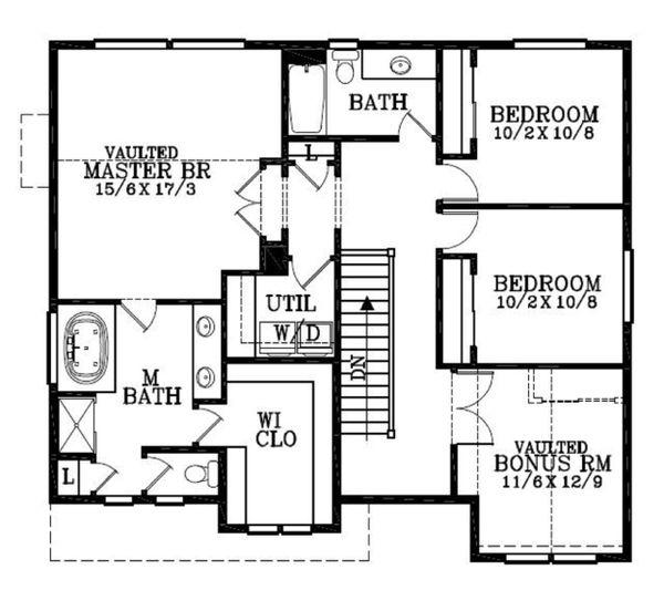 Craftsman Floor Plan - Upper Floor Plan Plan #53-451