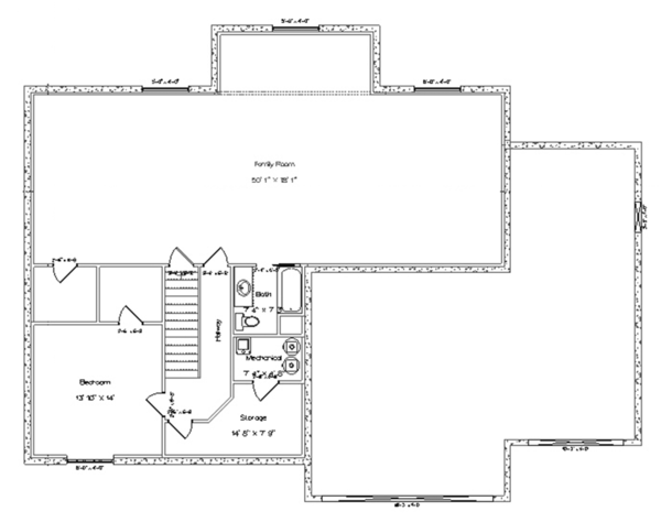 Ranch Floor Plan - Lower Floor Plan Plan #1060-6