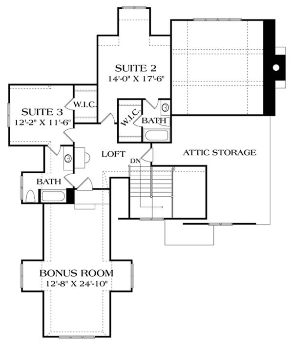 European Floor Plan - Upper Floor Plan Plan #453-637
