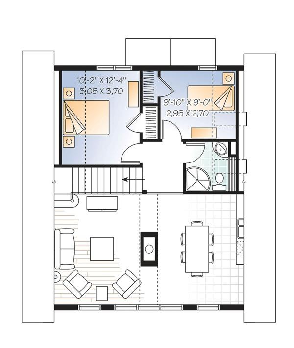 Contemporary Floor Plan - Upper Floor Plan Plan #23-2630