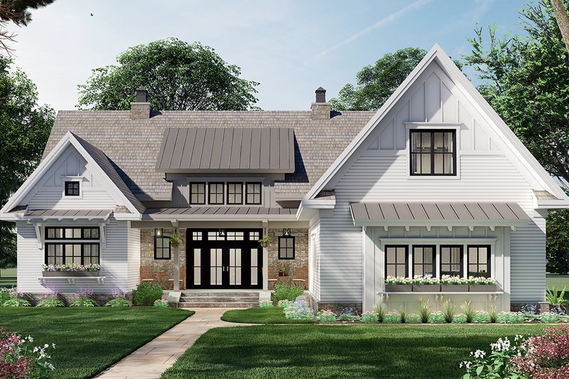 Home Plan - Farmhouse Exterior - Front Elevation Plan #51-1164
