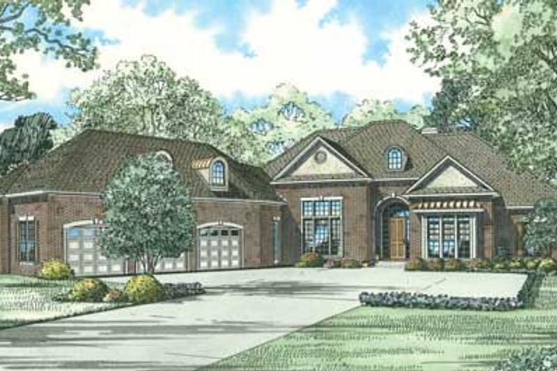 European Style House Plan - 4 Beds 4.5 Baths 4300 Sq/Ft Plan #17-644 Exterior - Front Elevation