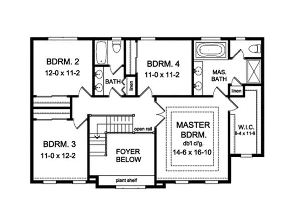 Traditional Floor Plan - Upper Floor Plan Plan #1010-131