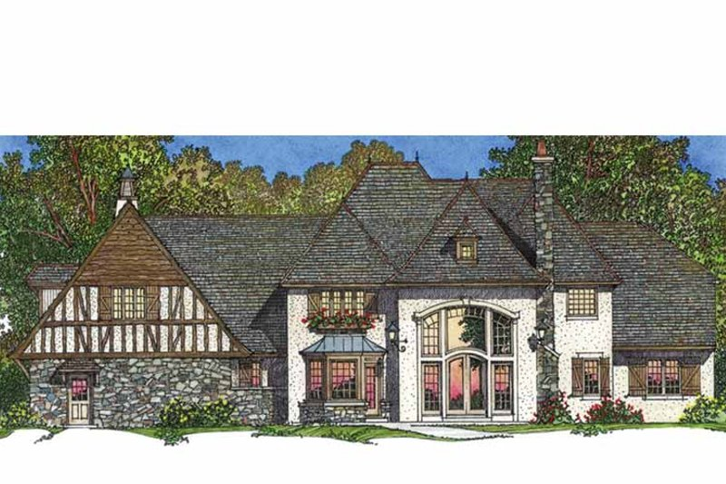 European Exterior - Rear Elevation Plan #1016-95 - Houseplans.com