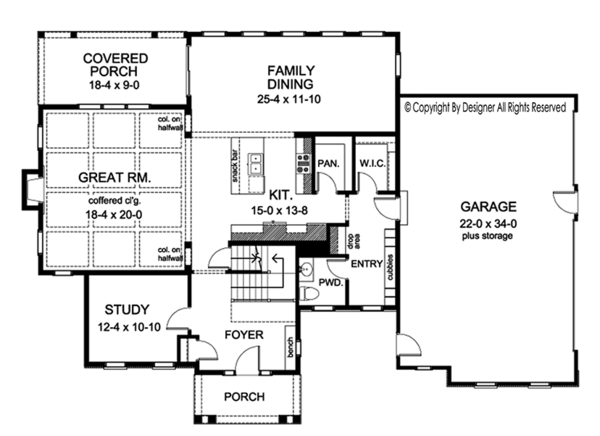 Colonial Floor Plan - Main Floor Plan Plan #1010-171