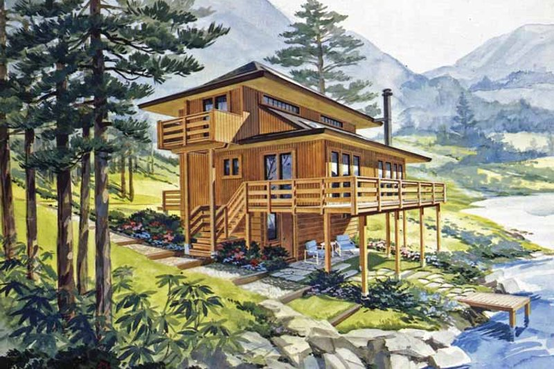 Home Plan - Contemporary Exterior - Front Elevation Plan #456-72